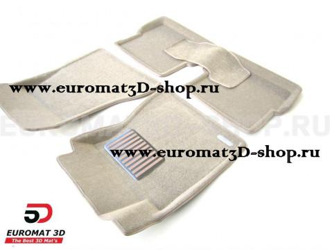 Текстильные 3D коврики Euromat3D Lux в салон для Cadillac CTS (2007-) (4WD) № EM3D-001305T Бежевый