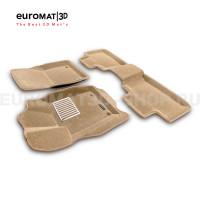 Текстильные 3D коврики Euromat3D Lux в салон для Jeep Grand Cherokee (2010-) № EM3D-002760T Бежевый