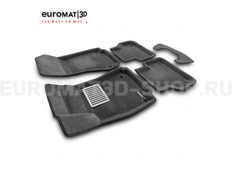 Текстильные 3D коврики Euromat3D Lux в салон для Audi A4 (2016-) № EM3D-001102G Серые